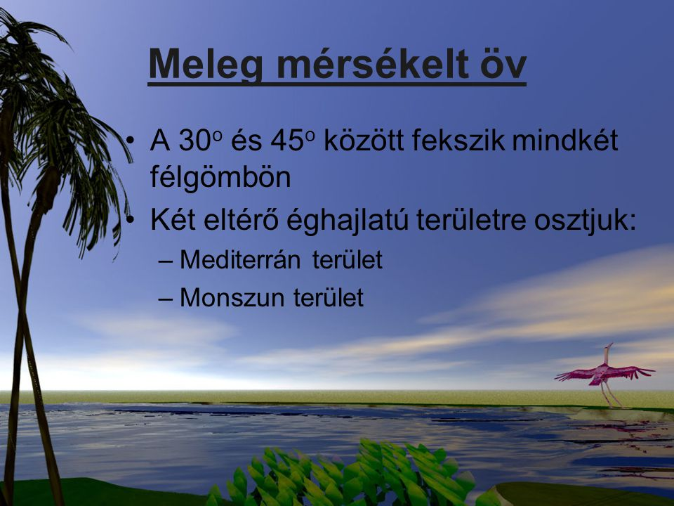 Meleg mérsékelt öv A 30 o és 45 o között fekszik mindkét félgömbön Két eltérő éghajlatú területre osztjuk: –Mediterrán terület –Monszun terület