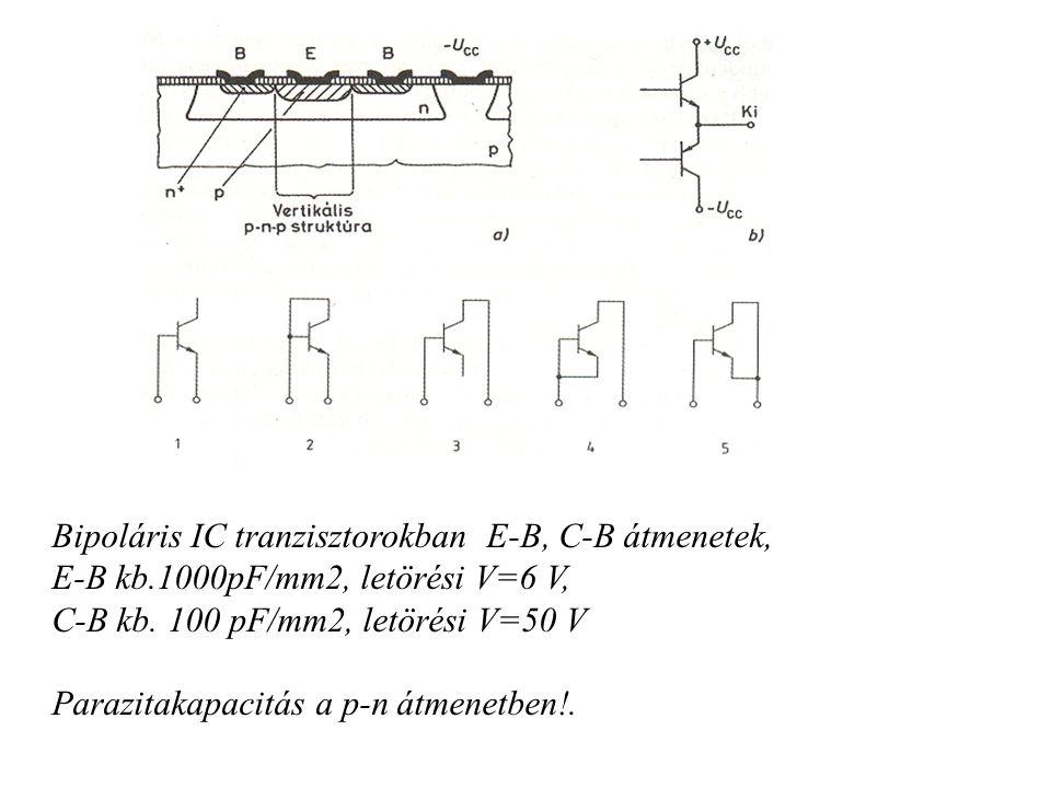 Bipoláris IC tranzisztorokban E-B, C-B átmenetek, E-B kb.1000pF/mm2, letörési V=6 V, C-B kb. 100 pF/mm2, letörési V=50 V Parazitakapacitás a p-n átmen