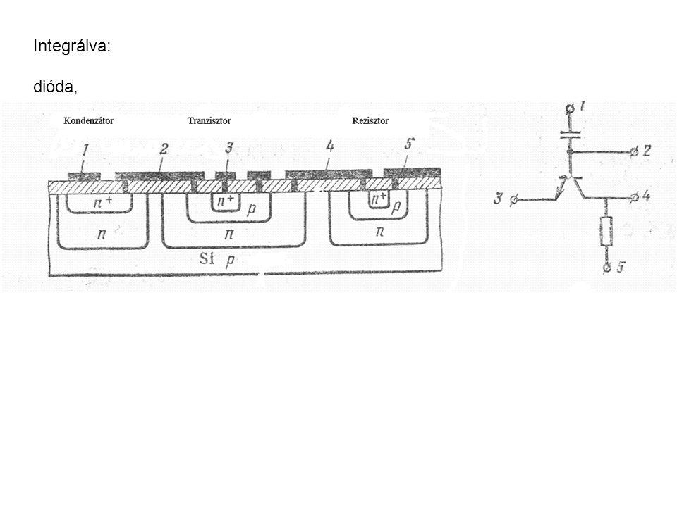p-n átmenet Beépített potenciál (p- és n- neutrális részek között):