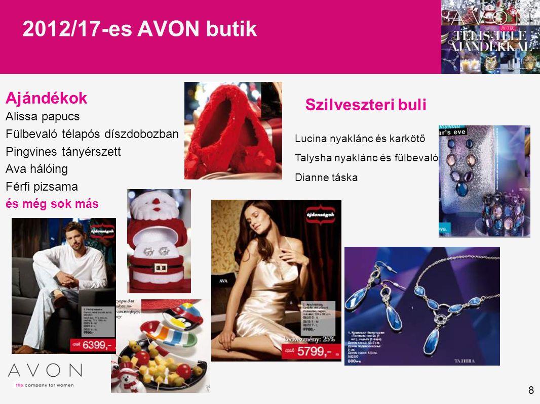 8 2012/17-es AVON butik Ajándékok Alissa papucs Fülbevaló télapós díszdobozban Pingvines tányérszett Ava hálóing Férfi pizsama és még sok más Szilvesz