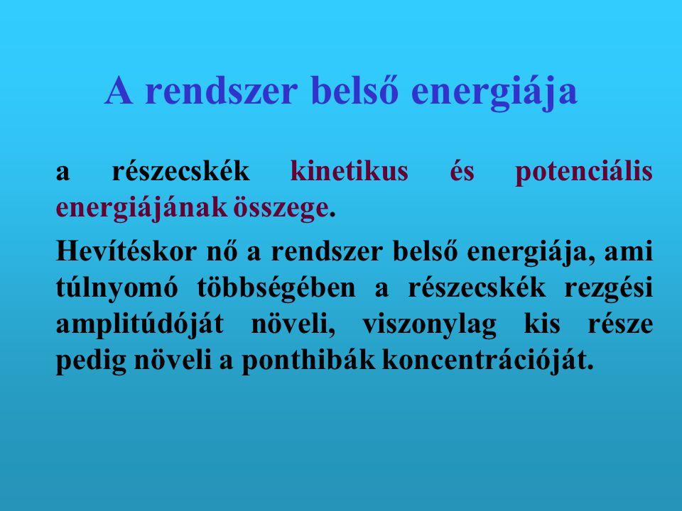 A rendszer belső energiája a részecskék kinetikus és potenciális energiájának összege. Hevítéskor nő a rendszer belső energiája, ami túlnyomó többségé