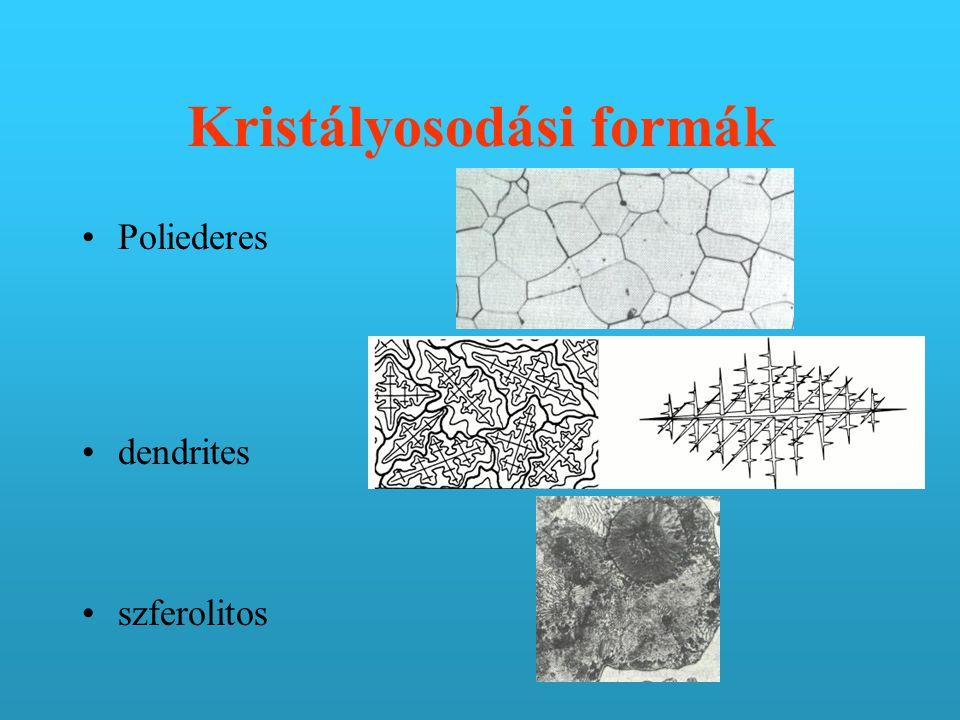 Kristályosodási formák Poliederes dendrites szferolitos