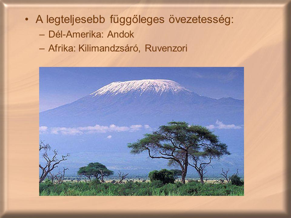 A legteljesebb függőleges övezetesség: –Dél-Amerika: Andok –Afrika: Kilimandzsáró, Ruvenzori