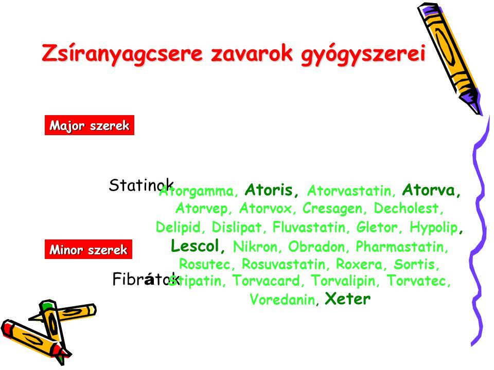 Zsíranyagcsere zavarok gyógyszerei Major szerek Statinok Minor szerek Fibr á tok Atorgamma, Atoris, Atorvastatin, Atorva, Atorvep, Atorvox, Cresagen,