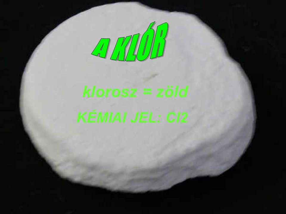 ANYAGSZERKEZET: Rendszám = 17 a.: ATOMSZERKEZET: 17 p+, 17 e–, 18 n0, 3 e– -héj, 7 külső e– b.: HALMAZSZERKEZET: 2 atomos, apoláris kovalens kötésű molekula szerkezeti képlete: 1 mól tömege 70 gramm.