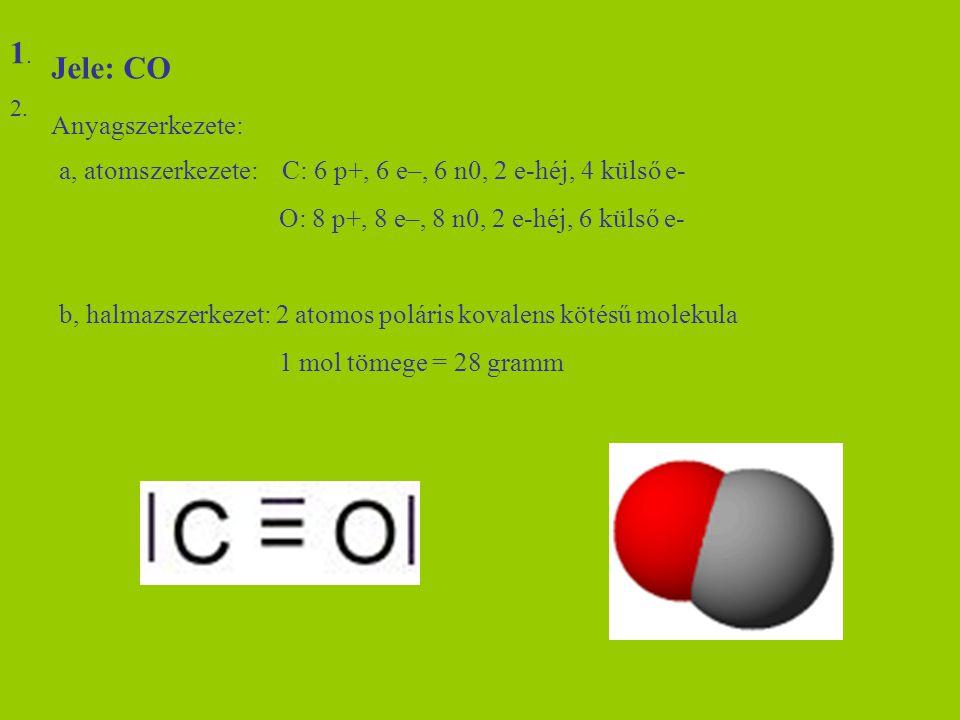 Jele: CO Anyagszerkezete: a, atomszerkezete: C: 6 p+, 6 e–, 6 n0, 2 e-héj, 4 külső e- O: 8 p+, 8 e–, 8 n0, 2 e-héj, 6 külső e- b, halmazszerkezet: 2 a