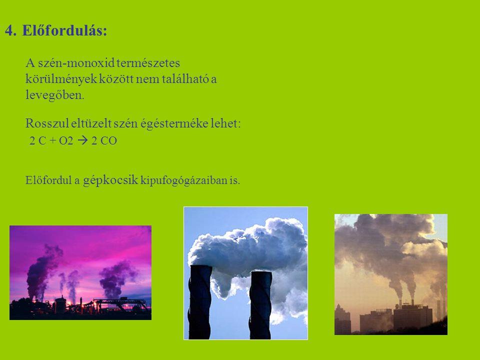 4.Előfordulás: A szén-monoxid természetes körülmények között nem található a levegőben. Rosszul eltüzelt szén égésterméke lehet: 2 C + O2  2 CO Előfo
