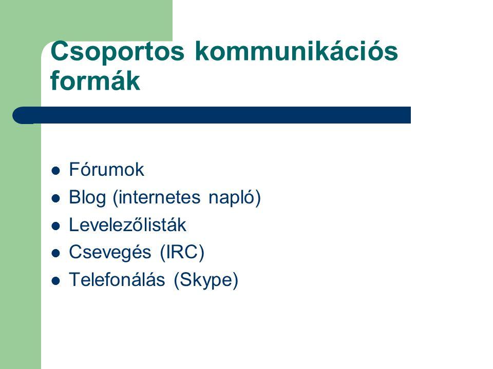 Csoportos kommunikációs formák Fórumok Blog (internetes napló) Levelezőlisták Csevegés (IRC) Telefonálás (Skype)