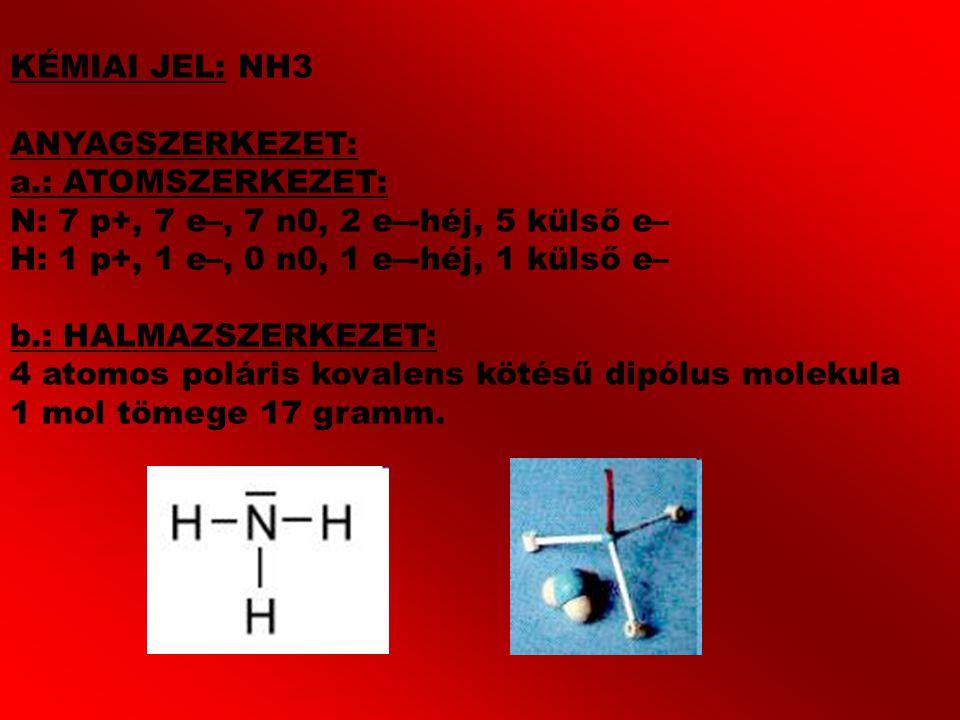 KÉMIAI JEL: NH3 ANYAGSZERKEZET: a.: ATOMSZERKEZET: N: 7 p+, 7 e–, 7 n0, 2 e–-héj, 5 külső e– H: 1 p+, 1 e–, 0 n0, 1 e–-héj, 1 külső e– b.: HALMAZSZERK