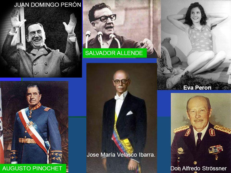 Eva Peron JUAN DOMINGO PERÓN Don Alfredo Strössner Jose María Velasco Ibarra. SALVADOR ALLENDE AUGUSTO PINOCHET