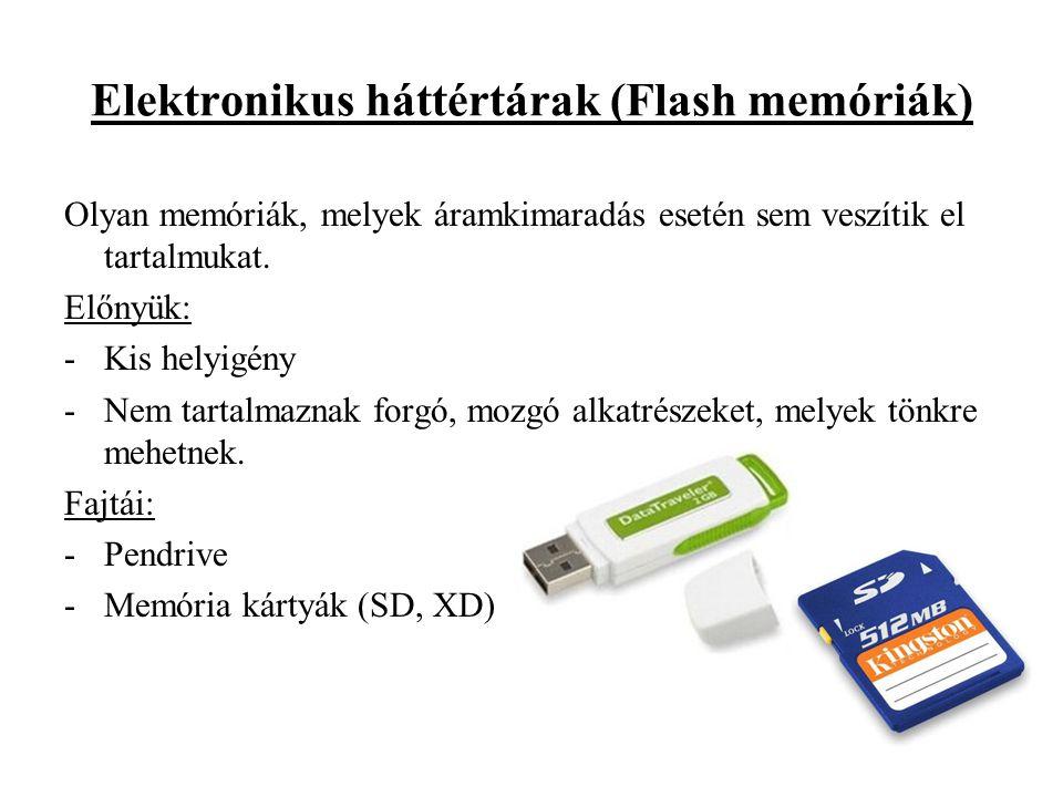 Elektronikus háttértárak (Flash memóriák) Olyan memóriák, melyek áramkimaradás esetén sem veszítik el tartalmukat. Előnyük: -Kis helyigény -Nem tartal