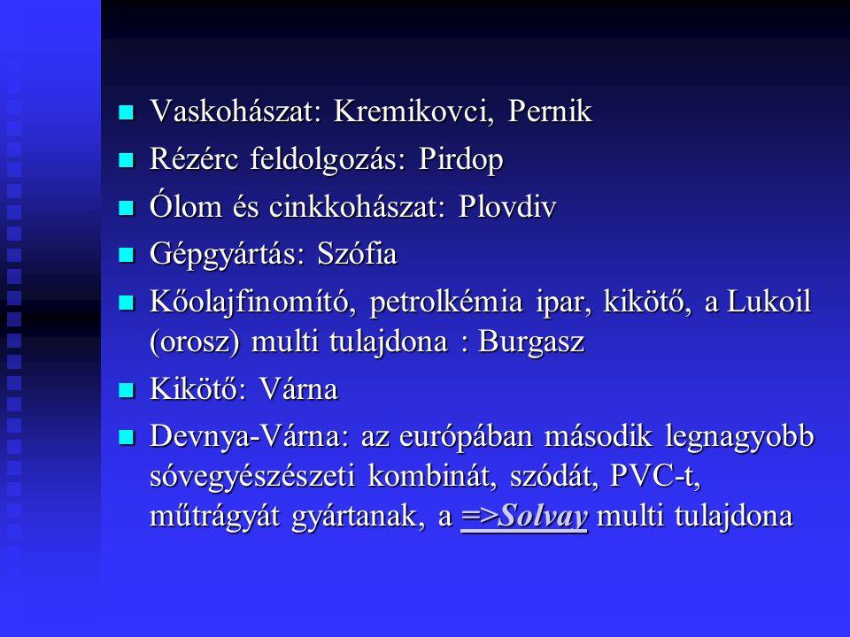 Vaskohászat: Kremikovci, Pernik Vaskohászat: Kremikovci, Pernik Rézérc feldolgozás: Pirdop Rézérc feldolgozás: Pirdop Ólom és cinkkohászat: Plovdiv Ól
