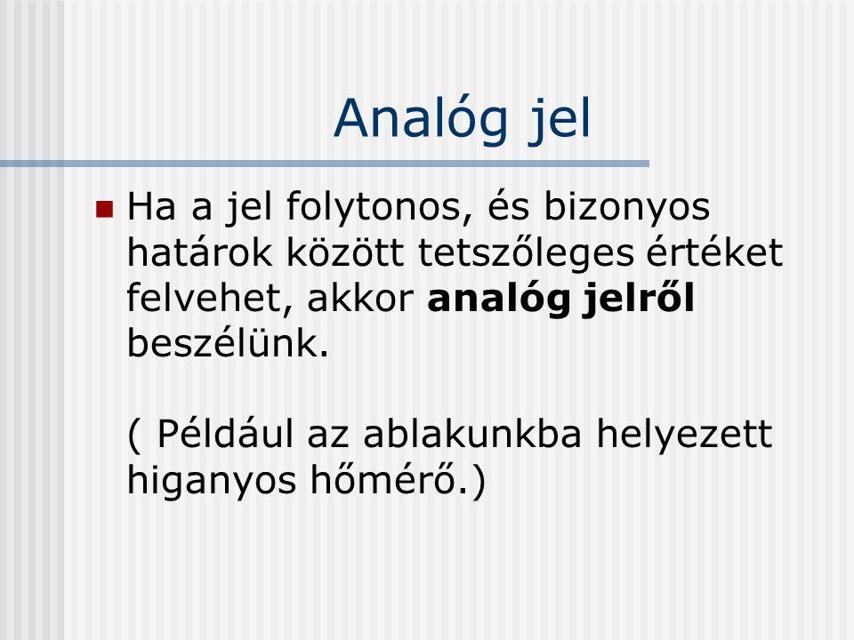 Analóg jel Ha a jel folytonos, és bizonyos határok között tetszőleges értéket felvehet, akkor analóg jelről beszélünk.