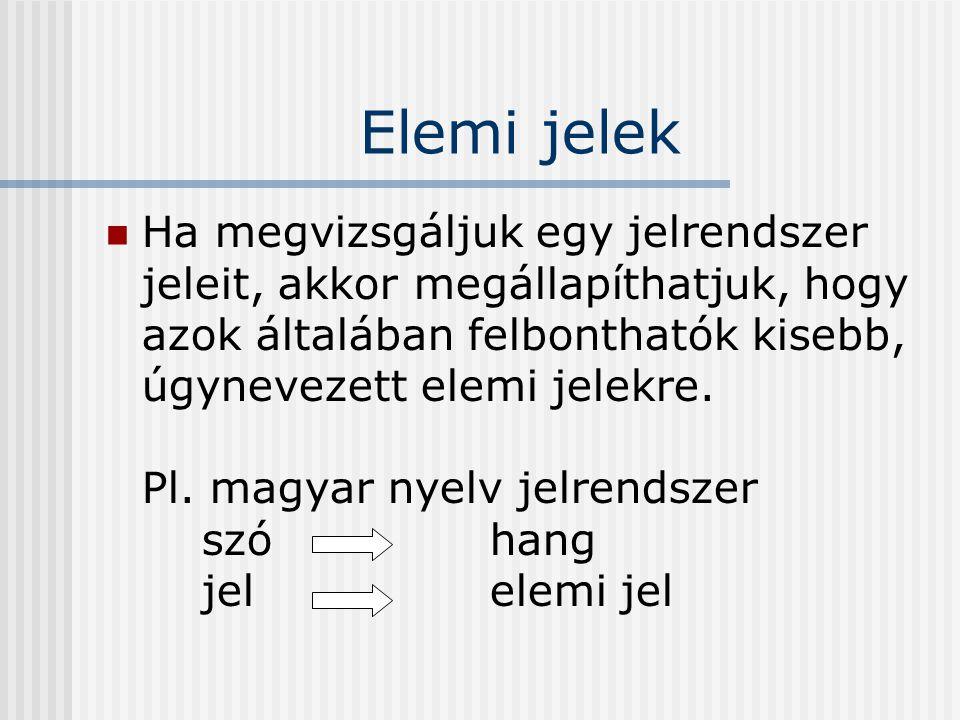 Elemi jelek Ha megvizsgáljuk egy jelrendszer jeleit, akkor megállapíthatjuk, hogy azok általában felbonthatók kisebb, úgynevezett elemi jelekre.