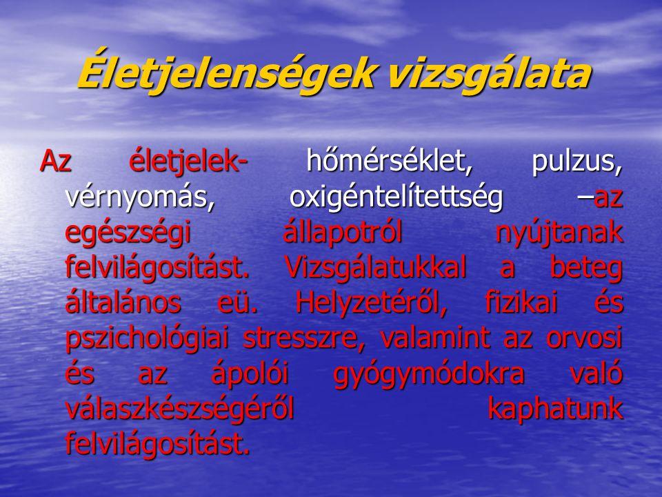 Kóros hőmérsékletek Kezdődhet: hirtelen ( hidegrázás )--- lassan Kezdődhet: hirtelen ( hidegrázás )--- lassan   pl.: pneumonia typhus abdominalis Megszűnhet: lassan (lysis)--- hirtelen(krízis) Megszűnhet: lassan (lysis)--- hirtelen(krízis) Hidegrázásnál az ápoló teendői: melegítés, póttakaró, zokni, folyadék- és ásványi anyagok pótlása Hidegrázásnál az ápoló teendői: melegítés, póttakaró, zokni, folyadék- és ásványi anyagok pótlása Jelölése: lázlapon, ellenőrző lapon, hőmérőzési lapon, kék színnel Jelölése: lázlapon, ellenőrző lapon, hőmérőzési lapon, kék színnel