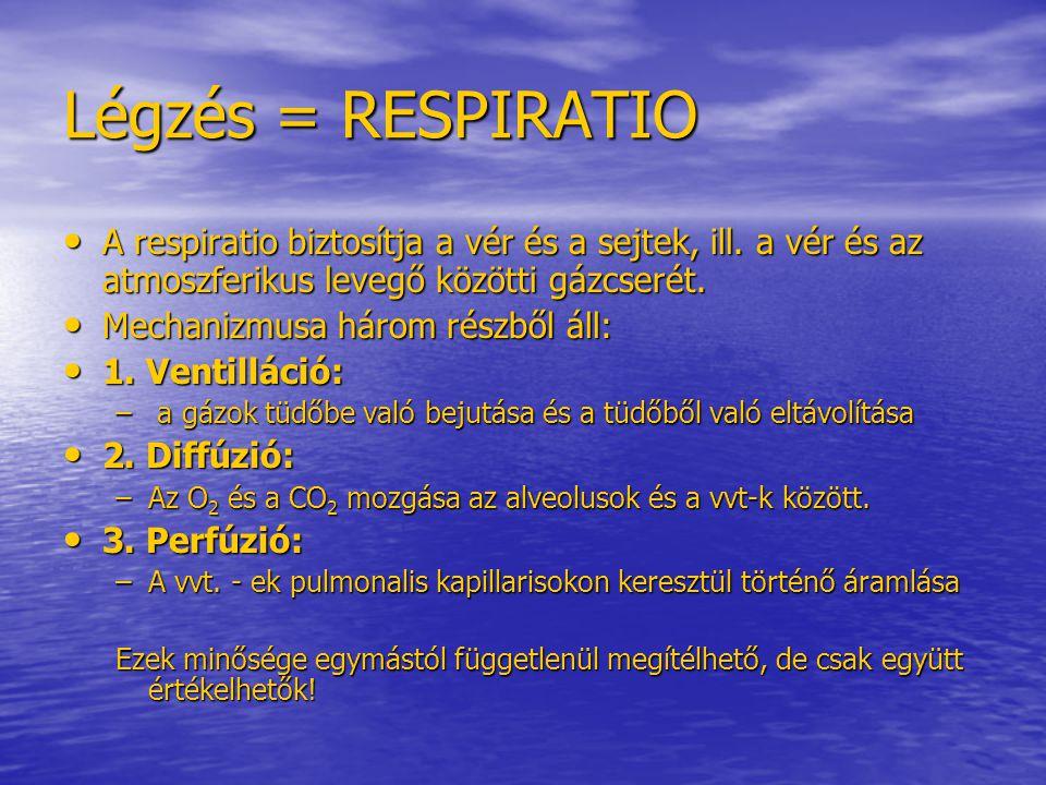 Kóros légzésszámok: Tachypnoe - polypnoe - a légzés ritmusos, de rendellenesen szapora > 20/perc - tartós, csak a kórok megszűntével >30-40/perc  Légzési elégtelenség.
