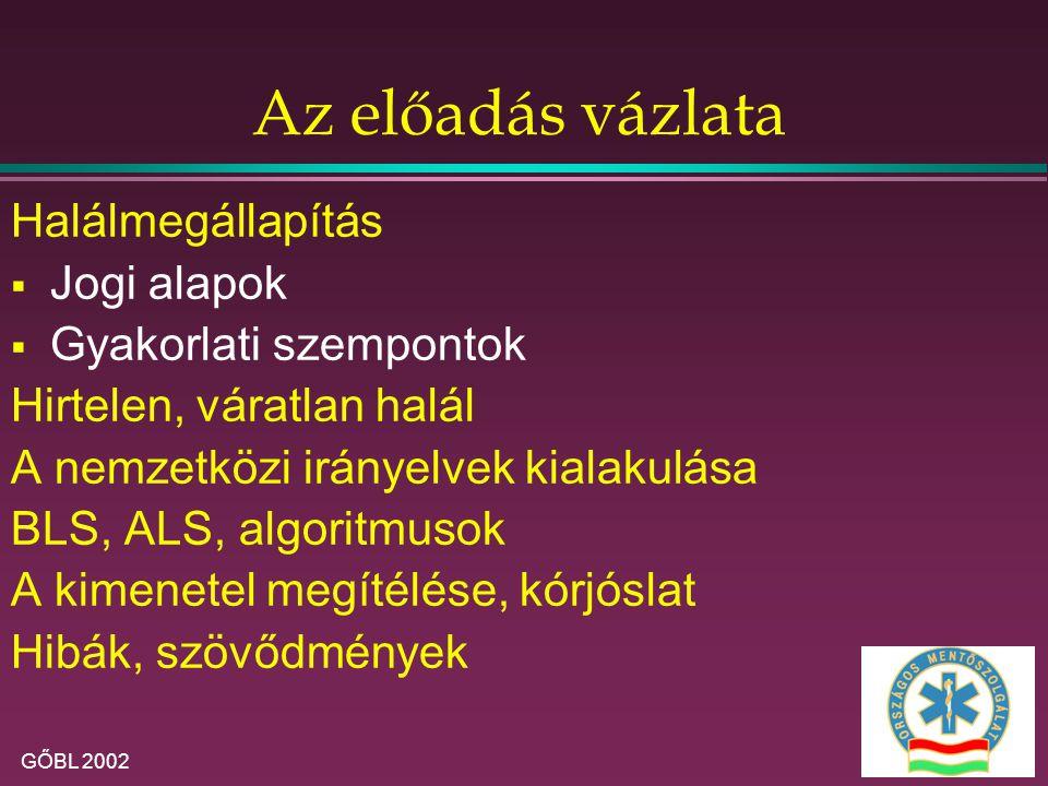 GŐBL 2002 C ardio P ulmonalis R esuscitatio Kísérlet a spontán keringés helyreállítására, beavatkozások széles körének bármelyikével