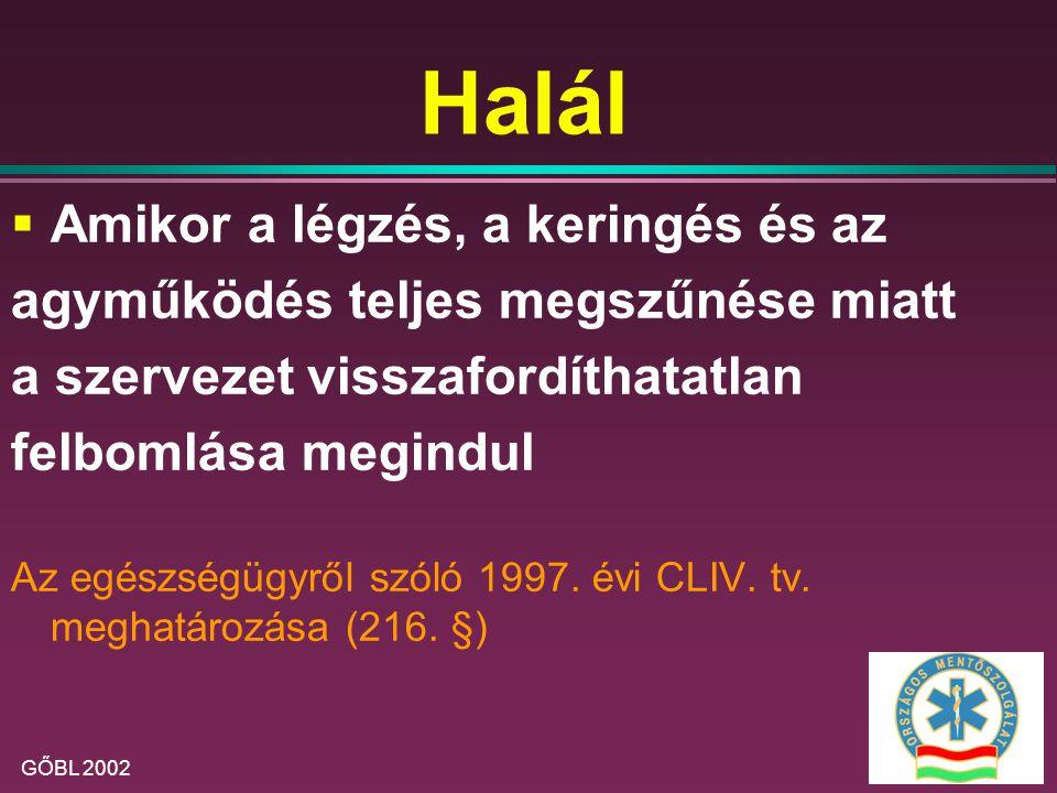 GŐBL 2002 ALS - változások  Mellkasi ökölcsapás:  észlelt vagy monitorozott keringésleállásnál  30 sec-on belül lehet hatásos  Reverzibilis okok keresése: 4H, 4T  Hypoxia- Tenziós ptx  Hypovolaemia- Tamponád (szív)  Hyper/hypokalaemia- Thromboembolia  Hypothermia- Toxikus anyagok