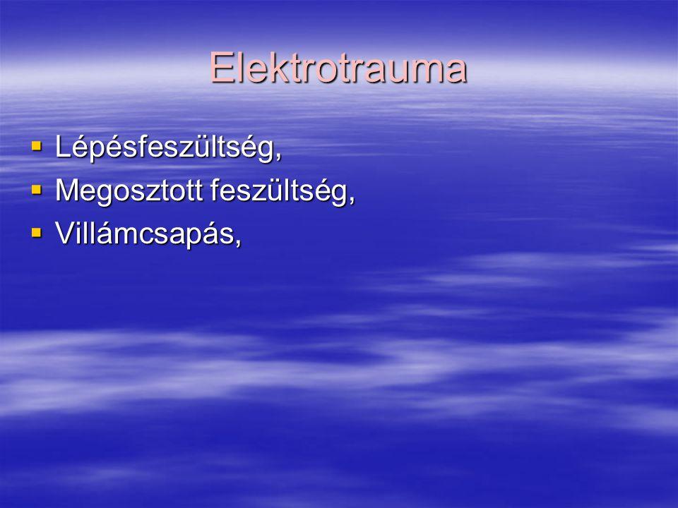 Elektrotrauma  Lépésfeszültség,  Megosztott feszültség,  Villámcsapás,