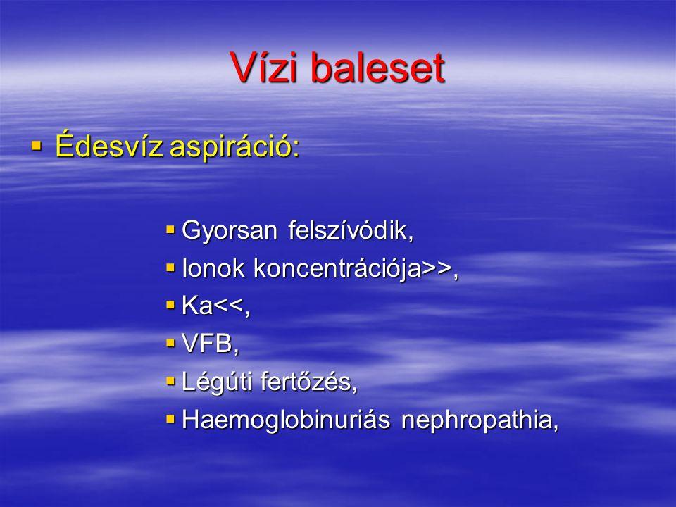 Vízi baleset  Édesvíz aspiráció:  Gyorsan felszívódik,  Ionok koncentrációja>>,  Ka<<,  VFB,  Légúti fertőzés,  Haemoglobinuriás nephropathia,