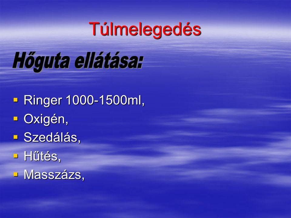 Túlmelegedés  Ringer 1000-1500ml,  Oxigén,  Szedálás,  Hűtés,  Masszázs,