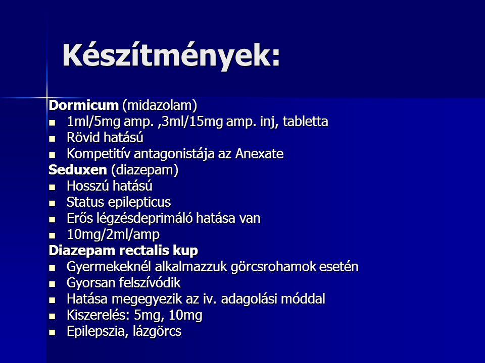 Készítmények: Dormicum (midazolam) 1ml/5mg amp.,3ml/15mg amp.