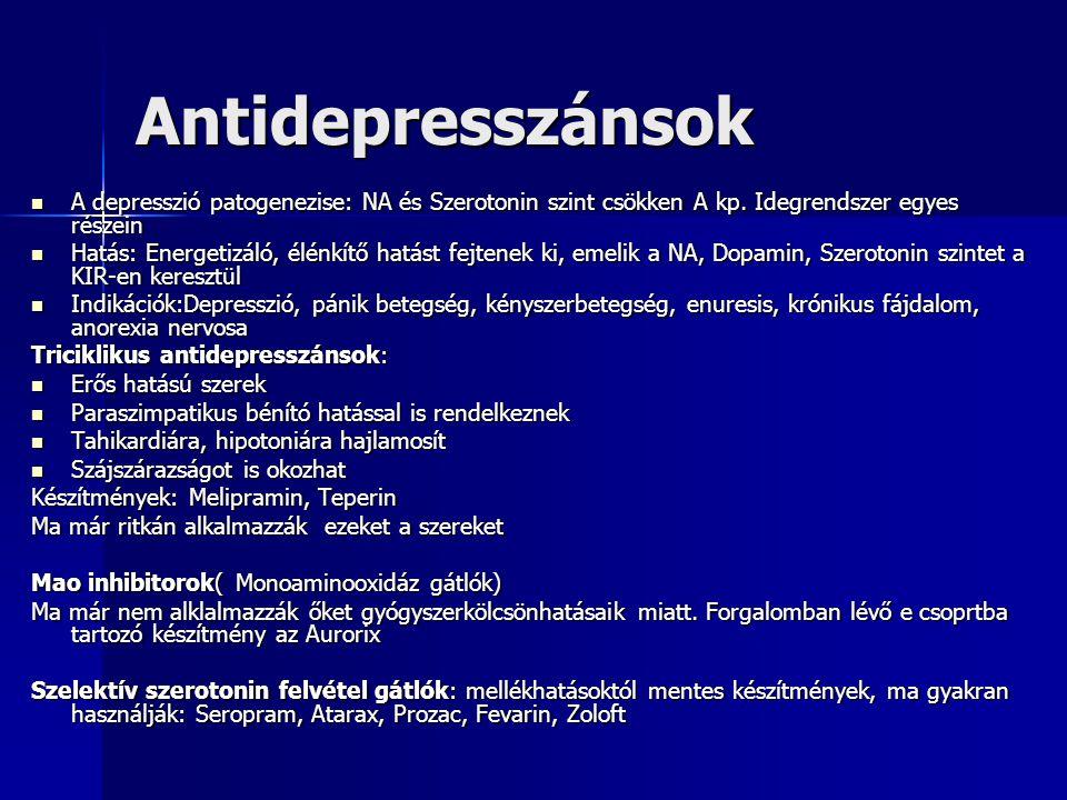 Antidepresszánsok A depresszió patogenezise: NA és Szerotonin szint csökken A kp.