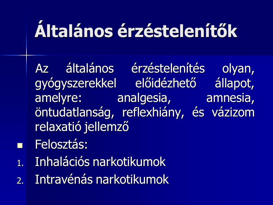 Általános érzéstelenítők Az általános érzéstelenítés olyan, gyógyszerekkel előidézhető állapot, amelyre: analgesia, amnesia, öntudatlanság, reflexhiány, és vázizom relaxatió jellemző Az általános érzéstelenítés olyan, gyógyszerekkel előidézhető állapot, amelyre: analgesia, amnesia, öntudatlanság, reflexhiány, és vázizom relaxatió jellemző Felosztás: Felosztás: 1.