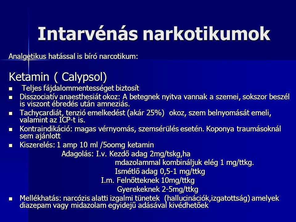 Pszichofarmakonok Antipszihotikus szerek(Trankvillánsok, neuroleptikumok) Hatás:Hallucinációk, támadó késztetések megszűnnek, a beteg számára környezete közömbös lesz (pszichotikus állapotok, schizophrenia) Közös bennük, hogy a DA rendszer gátlásán keresztül hatnak (újabbak kevert serotonin/DA gátlók) Készítmény Hibernál, Pipolphen Készítmény Hibernál, Pipolphen KIR-ben gátló hatást fejtenek ki,ill.