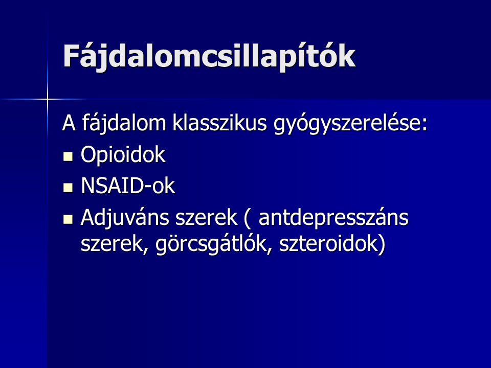 Fájdalomcsillapítók A fájdalom klasszikus gyógyszerelése: Opioidok Opioidok NSAID-ok NSAID-ok Adjuváns szerek ( antdepresszáns szerek, görcsgátlók, szteroidok) Adjuváns szerek ( antdepresszáns szerek, görcsgátlók, szteroidok)