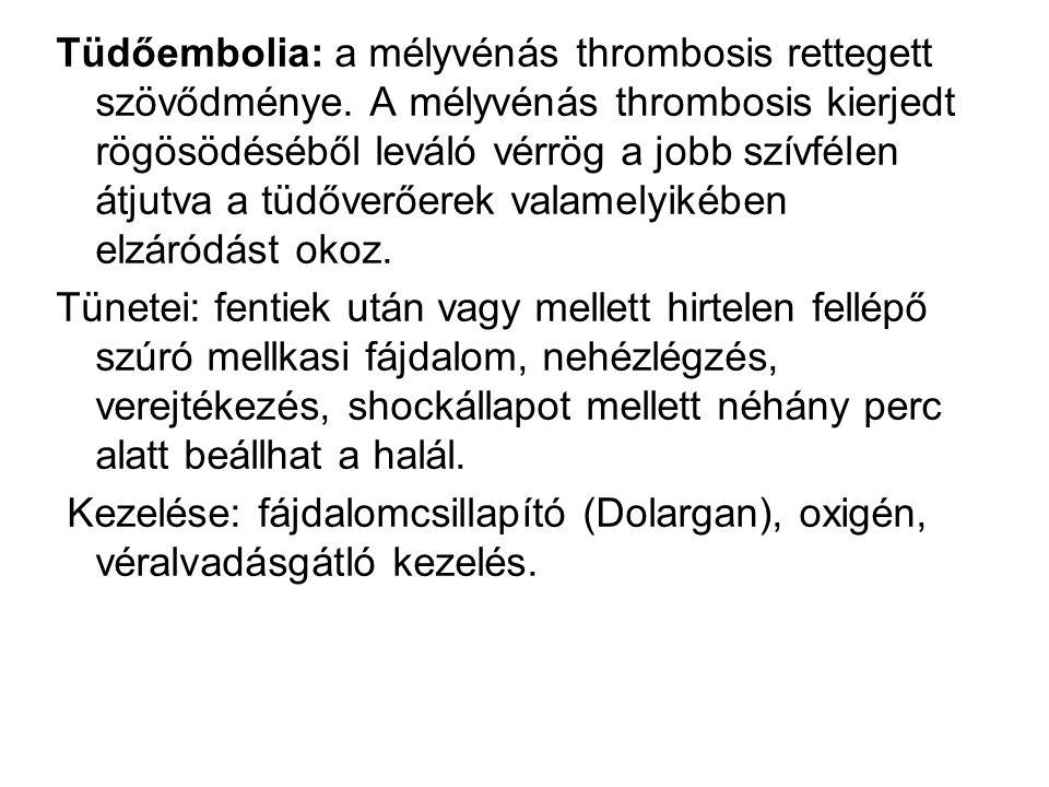 Tüdőembolia: a mélyvénás thrombosis rettegett szövődménye. A mélyvénás thrombosis kierjedt rögösödéséből leváló vérrög a jobb szívfélen átjutva a tüdő