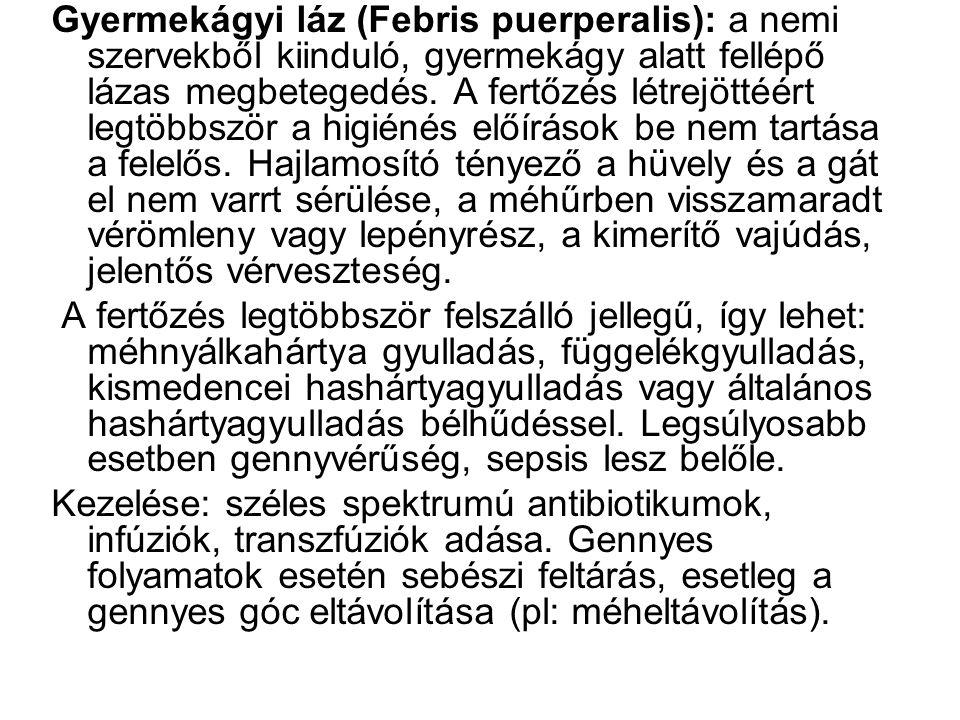 Gyermekágyi láz (Febris puerperalis): a nemi szervekből kiinduló, gyermekágy alatt fellépő lázas megbetegedés. A fertőzés létrejöttéért legtöbbször a