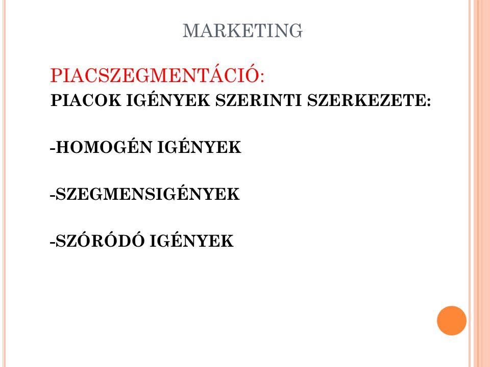 MARKETING MARKETINGSTRATÉGIÁK IV.: -A PIAC RÉSZEKRE BONTÁSA (SEGMENTATION) -LEHETŐSÉGEK ELEMZÉSE (PIACPOTENCIÁL FELMÉRÉSE: TELJES PIACPOTENCIÁL, TERMÉKPIAC HATÁRAI--TERMÉKTÉNYEZŐK) -FELSŐ TELITETTSÉGI ÉRTÉK (NEM ELÉRHETŐ, MIVEL MINDIG VANNAK OLYANOK, AKIK (AMELYEK) NEM VESZIK MEG ATERMÉKET) -SZÓBAJÖHETŐ VÁSÁRLÓK KÖRE +PIACLEBONTÁSOS (TOP-DOWN) MÓDSZER +PIACFELÉPÍTÉSES (BOTTOM UP) MÓDSZER