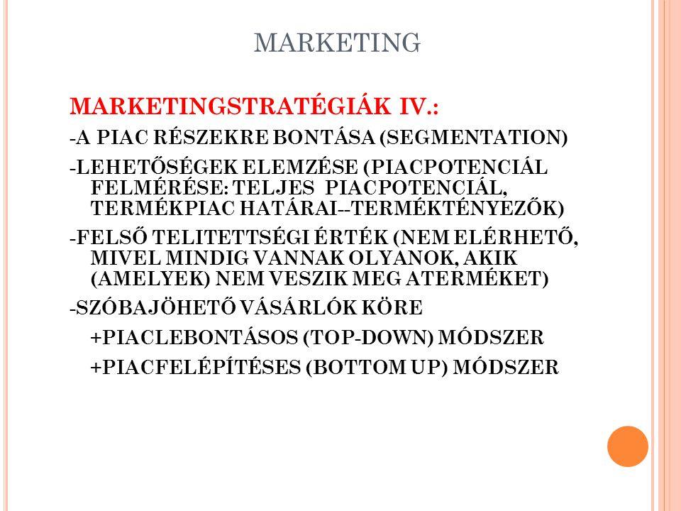 MARKETING CÉLPIACI MARKETING KIALAKÍTÁSÁNAK FOLYAMATA: - S EGMENTATION - T ARGETING - P OSITIONING