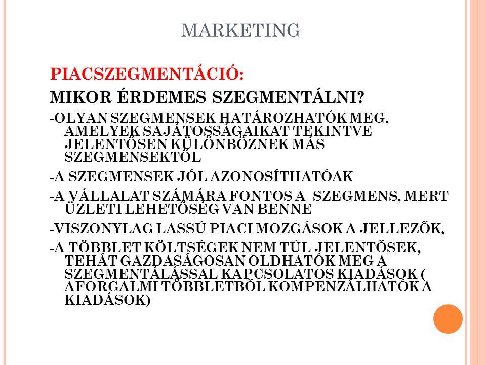 PIACBEFOLYÁSOLÁS Piacbefolyásolás: Kommunikatív Nem kommunikatív elemek reklámtermék PRminőség PSmennyiség SPár CIválaszték imagecsomagolás design szervíz, garancia értékesítési kondíciók védjegy