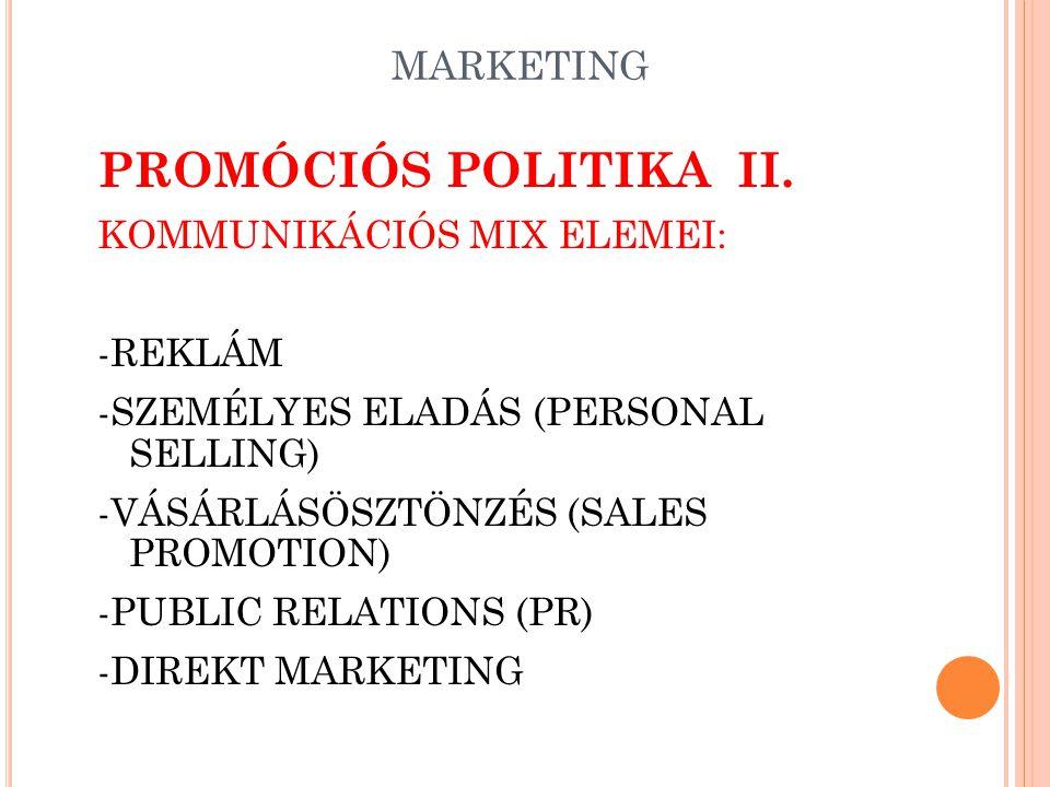PIACBEFOLYÁSOLÁS Piacbefolyásolás: Kommunikatív Nem kommunikatív elemek reklámtermék PRminőség PSmennyiség SPár CIválaszték imagecsomagolás design sze