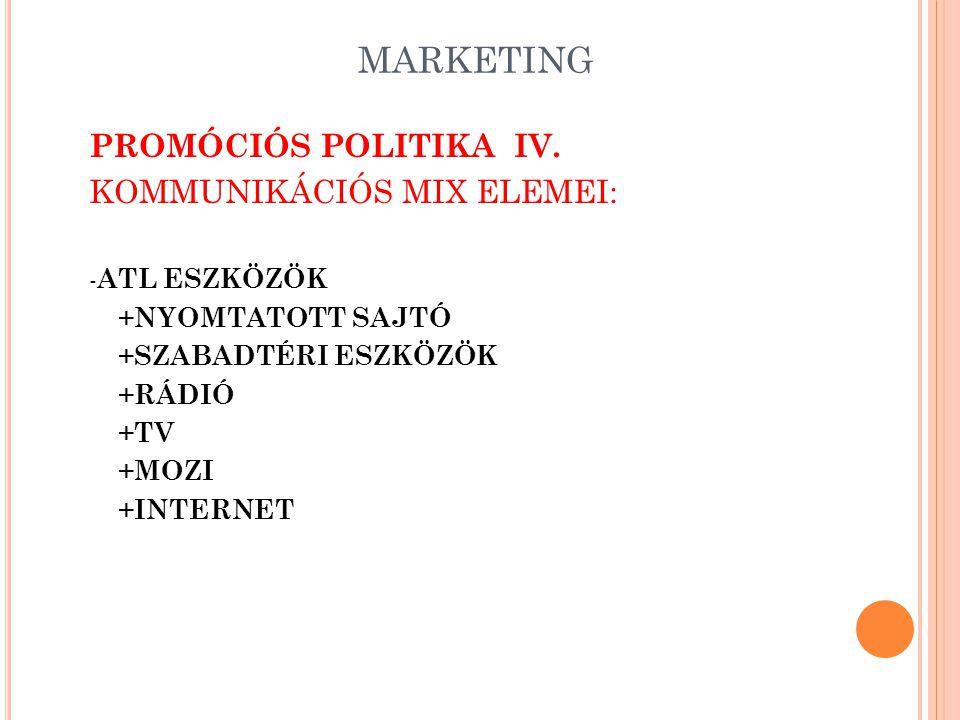 MARKETING PROMÓCIÓS POLITIKA III. KOMMUNIKÁCIÓS MIX ELEMEI: -ATL ESZKÖZÖK -BTL ESZKÖZÖK