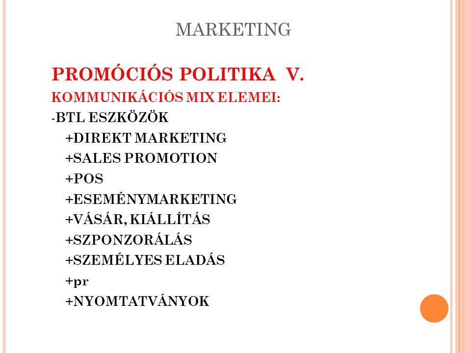 MARKETING PROMÓCIÓS POLITIKA IV. KOMMUNIKÁCIÓS MIX ELEMEI: - ATL ESZKÖZÖK +NYOMTATOTT SAJTÓ +SZABADTÉRI ESZKÖZÖK +RÁDIÓ +TV +MOZI +INTERNET