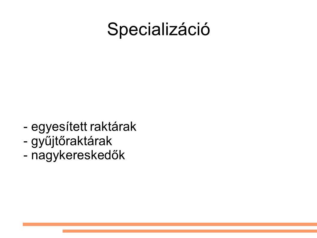 Specializáció - egyesített raktárak - gyűjtőraktárak - nagykereskedők