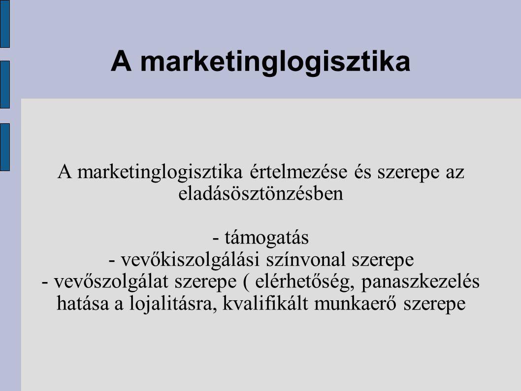 A marketinglogisztika A marketinglogisztika értelmezése és szerepe az eladásösztönzésben - támogatás - vevőkiszolgálási színvonal szerepe - vevőszolgálat szerepe ( elérhetőség, panaszkezelés hatása a lojalitásra, kvalifikált munkaerő szerepe
