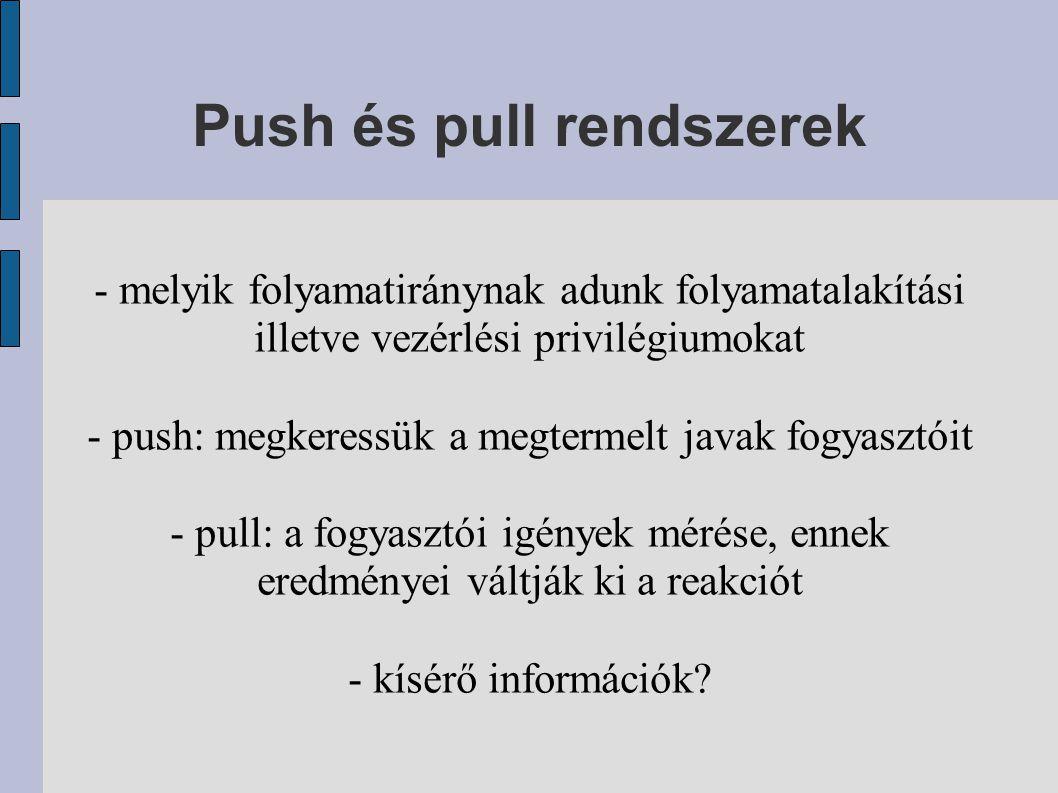 Push és pull rendszerek - melyik folyamatiránynak adunk folyamatalakítási illetve vezérlési privilégiumokat - push: megkeressük a megtermelt javak fogyasztóit - pull: a fogyasztói igények mérése, ennek eredményei váltják ki a reakciót - kísérő információk