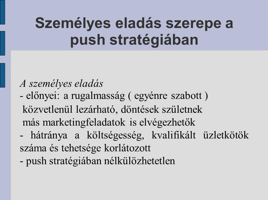 Személyes eladás szerepe a push stratégiában A személyes eladás - előnyei: a rugalmasság ( egyénre szabott ) közvetlenül lezárható, döntések születnek más marketingfeladatok is elvégezhetők - hátránya a költségesség, kvalifikált üzletkötök száma és tehetsége korlátozott - push stratégiában nélkülözhetetlen