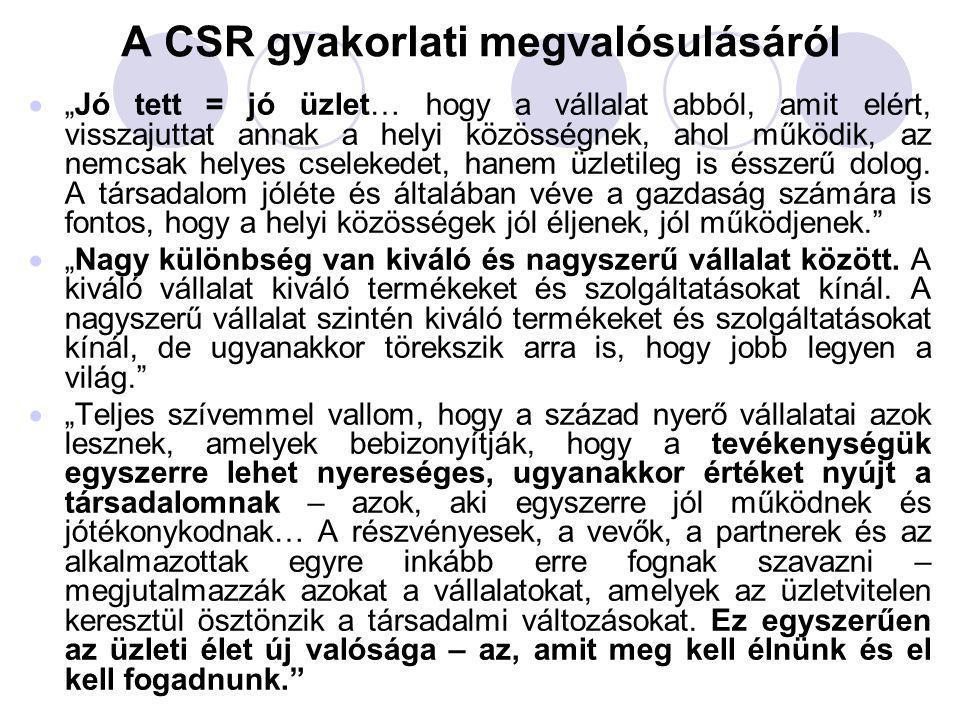 """A CSR gyakorlati megvalósulásáról  """"Jó tett = jó üzlet… hogy a vállalat abból, amit elért, visszajuttat annak a helyi közösségnek, ahol működik, az n"""