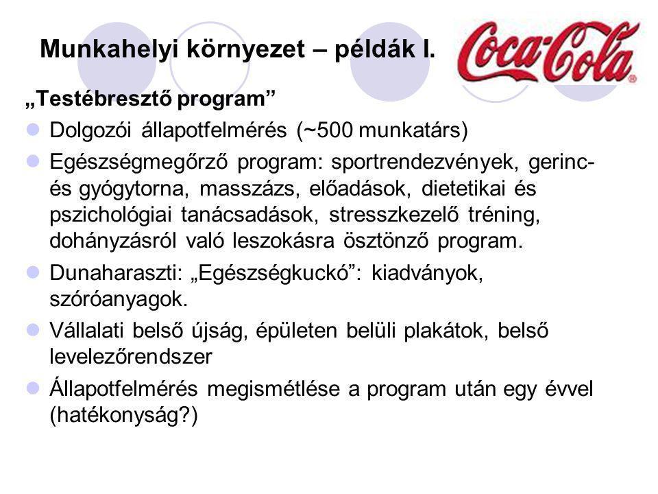 """Munkahelyi környezet – példák I. """"Testébresztő program"""" Dolgozói állapotfelmérés (~500 munkatárs) Egészségmegőrző program: sportrendezvények, gerinc-"""