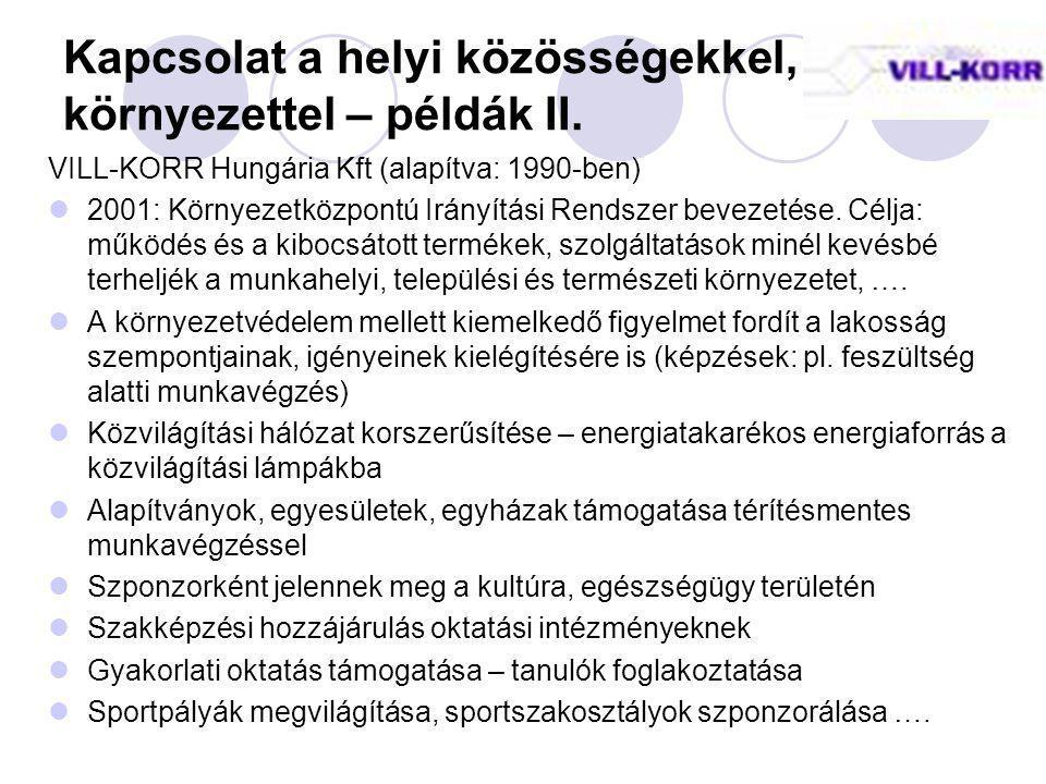 Kapcsolat a helyi közösségekkel, környezettel – példák II. VILL-KORR Hungária Kft (alapítva: 1990-ben) 2001: Környezetközpontú Irányítási Rendszer bev