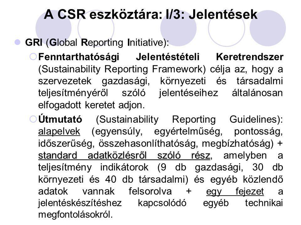 A CSR eszköztára: I/3: Jelentések GRI (Global Reporting Initiative):  Fenntarthatósági Jelentéstételi Keretrendszer (Sustainability Reporting Framewo