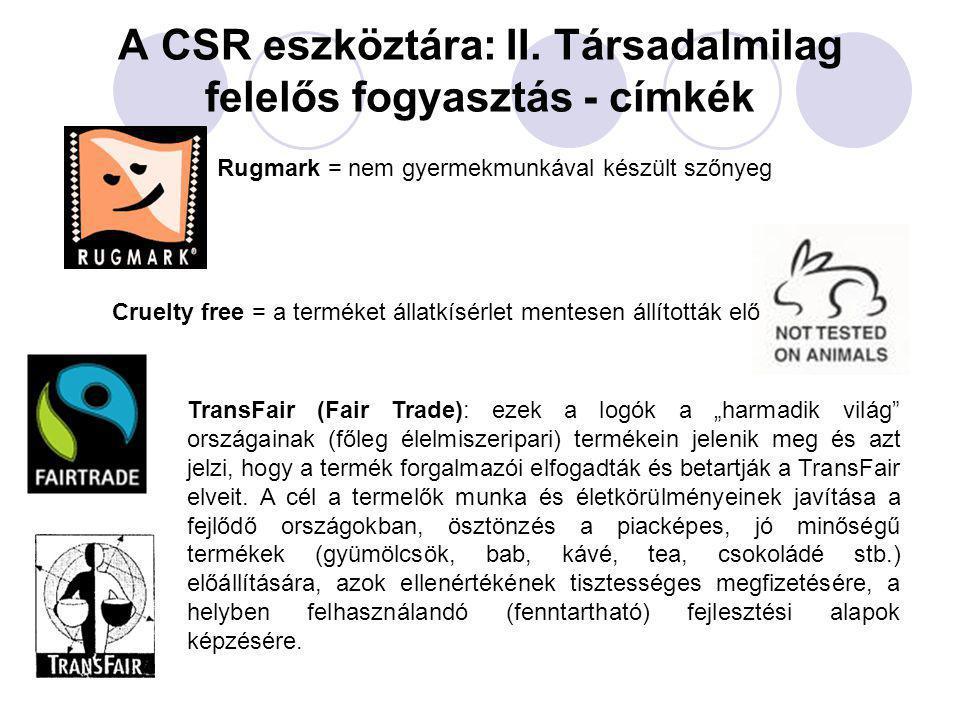 A CSR eszköztára: II. Társadalmilag felelős fogyasztás - címkék Rugmark = nem gyermekmunkával készült szőnyeg Cruelty free = a terméket állatkísérlet
