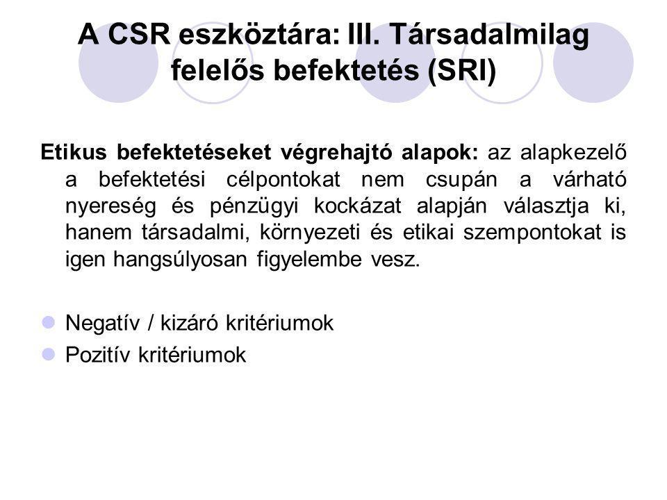 A CSR eszköztára: III. Társadalmilag felelős befektetés (SRI) Etikus befektetéseket végrehajtó alapok: az alapkezelő a befektetési célpontokat nem csu