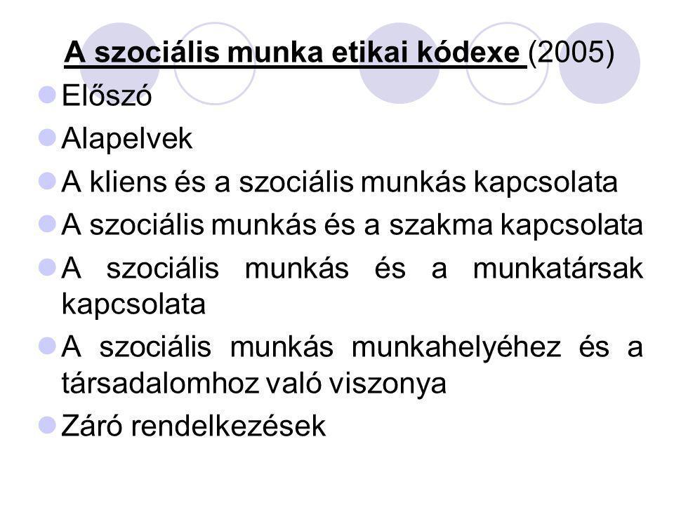 A szociális munka etikai kódexe (2005) Előszó Alapelvek A kliens és a szociális munkás kapcsolata A szociális munkás és a szakma kapcsolata A szociáli