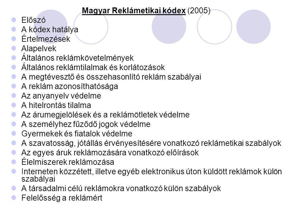 Magyar Reklámetikai kódex (2005) Előszó A kódex hatálya Értelmezések Alapelvek Általános reklámkövetelmények Általános reklámtilalmak és korlátozások